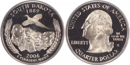 U.S. Certified Coins 2006-S SOUTH DAKOTA PROOF STATE QUARTER 2 COIN SILVER & CLAD SET PCGS PR69 DCAM