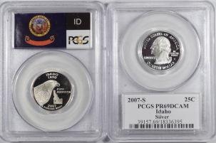 Quarters 2007-S IDAHO PROOF STATE QUARTER 2 COIN SILVER & CLAD SET PCGS PR69 DCAM FLAG