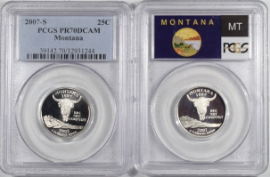 New Certified Coins 2007-S MONTANA PROOF STATE QUARTER 2 COIN SILVER/CLAD SET PCGS PR69 & PR70 DCAM