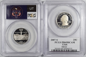 Quarters 2007-S UTAH PROOF STATE QUARTER 2 COIN SILVER & CLAD SET PCGS PR69 DCAM, FLAG