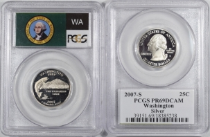U.S. Certified Coins 2007-S WASHINGTON PROOF STATE QUARTER 2 COIN SILVER/CLAD SET PCGS PR69 DCAM FLAG