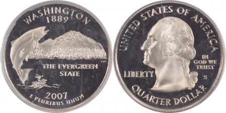U.S. Certified Coins 2007-S WASHINGTON PROOF STATE QUARTER 2 COIN SILVER/CLAD SET PCGS PR69 DCAM FLAG