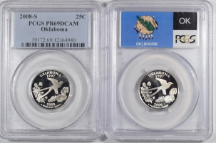 Washington Quarters 2008-S OKLAHOMA PROOF WASHINGTON STATE QUARTERS LOT/2 SILVER CLAD PCGS PR69 DCAM