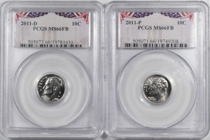 New Certified Coins 2011-P/D ROOSEVELT DIME LOT/2 – PCGS MS-66 FB