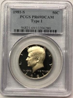 Kennedy Halves 1981-S TY I PROOF KENNEDY HALF DOLLAR – PCGS PR-69 DCAM