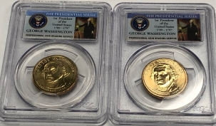 U.S. Certified Coins 2007-P 2007-D $1 GEORGE WASHINGTON PRESIDENTIAL DOLLAR LOT/2 – PCGS MS-64/65