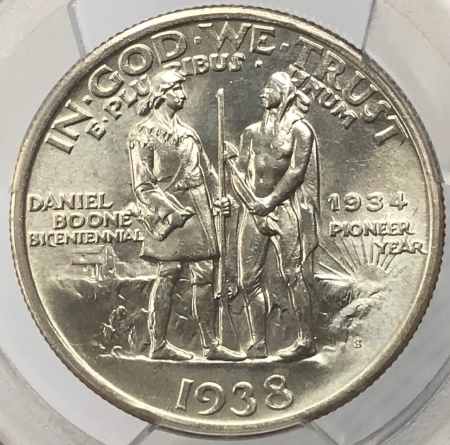 New Certified Coins 1938-S BOONE COMMEMORATIVE HALF DOLLAR – PCGS MS-66 PREMIUM QUALITY!