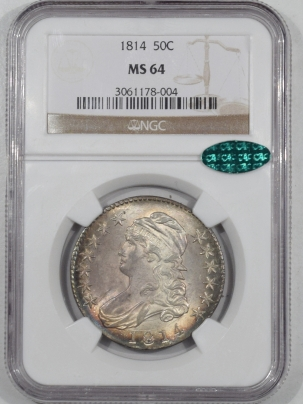 CAC Approved Coins 1814 CAPPED BUST HALF DOLLAR NGC MS-64 CAC, FLASHY, FRESH & STUNNING NEAR GEM!