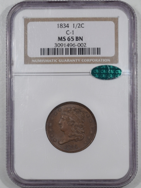 New Certified Coins 1834 CLASSIC HEAD HALF CENT C-1 NGC MS-65 BN CAC PRISTINE GEM VIRTUALLY FLAWLESS