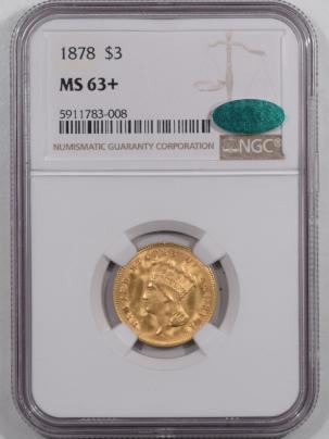 $3 1878 $3 DOLLAR GOLD PRINCESS – NGC MS-63+, CAC APPROVED, FRESH & REALLY PQ!!