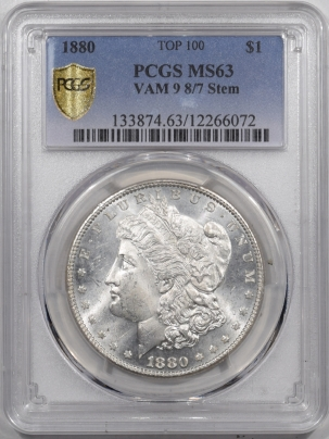 Morgan Dollars 1880 8/7 VAM 9, STEM MORGAN DOLLAR – PCGS MS-63 BLAST WHITE!