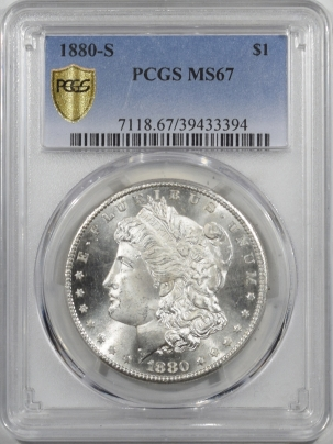 Coin World/Numismatic News Featured Coins 1880-S MORGAN DOLLAR – PCGS MS-67, BLAST WHITE! SUPERB!