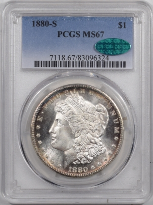 CAC Approved Coins 1880-S MORGAN DOLLAR PCGS MS-67 CAC, REALLY PRETTY & PQ! SUPERB GEM!!