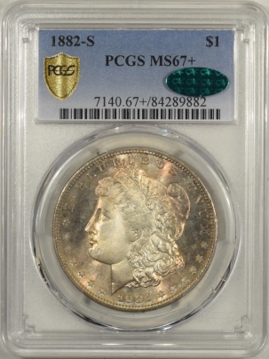 CAC Approved Coins 1882-S MORGAN DOLLAR – PCGS MS-67+ SIMPLY STUNNING, NEAR PERFECT! CAC APPROVED!
