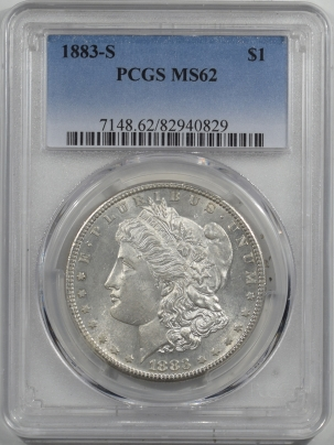 Dollars 1883-S MORGAN DOLLAR – PCGS MS-62 WHITE & MARK FREE, WELL STRUCK!