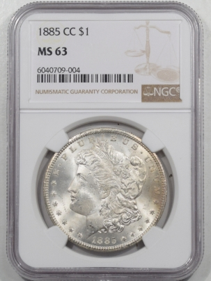 New Certified Coins 1885-CC MORGAN DOLLAR NGC MS-63, FRESH & CHOICE, KEY-DATE!