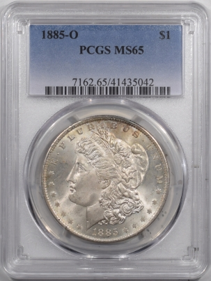 Dollars 1885-O MORGAN DOLLAR PCGS MS-65, PRETTY, FRESH, FLASHY GEM!