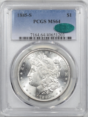 CAC Approved Coins 1885-S MORGAN DOLLAR – PCGS MS-64 ALMOST MS-65, PREMIUM QUALITY & CAC APPROVED!