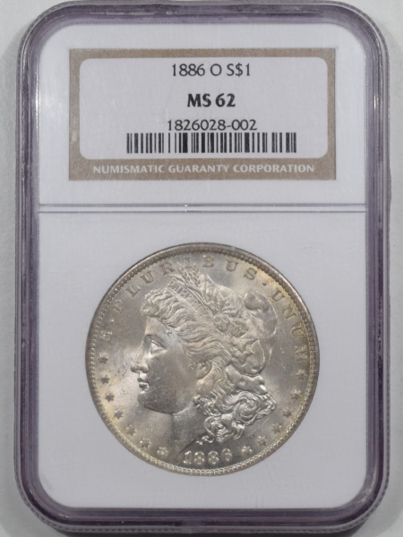 New Certified Coins 1886-O MORGAN DOLLAR NGC MS-62, FRESH, ORIGINAL WHITE & WELL-STRUCK