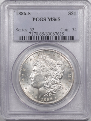 New Certified Coins 1886-S MORGAN DOLLAR – PCGS MS-65 WHITE GEM!