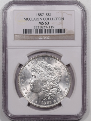 Morgan Dollars 1887 MORGAN DOLLAR – NGC MS-63 MCCLAREN COLLECTION, FLASHY!