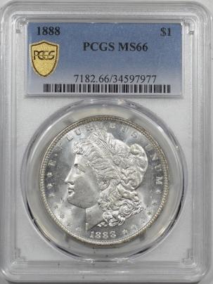 Dollars 1888 MORGAN DOLLAR PCGS MS-66, BLAST WHITE & FLASHY!