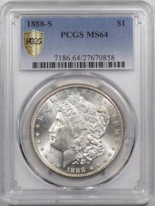 Morgan Dollars 1888-S MORGAN DOLLAR – PCGS MS-64 BLAZING LUSTER!