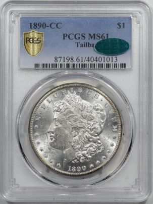 CAC Approved Coins 1890-CC TAILBAR MORGAN DOLLAR – PCGS MS-61 FROST BU EXAMPLE, SCARCE VARIETY! CAC