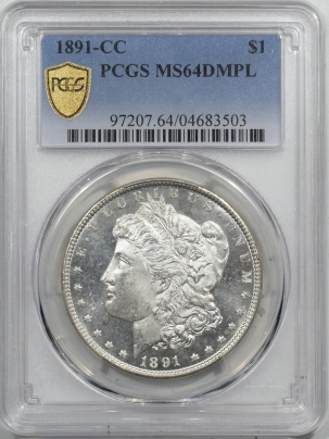 Morgan Dollars 1891-CC MORGAN DOLLAR – PCGS MS-64 DMPL BLACK & WHITE