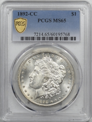 Morgan Dollars 1892-CC MORGAN DOLLAR – PCGS MS-65 SPARKLING WHITE GEM!