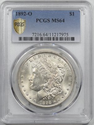 Morgan Dollars 1892-O MORGAN DOLLAR – PCGS MS-64 ORIGINAL WHITE & NEAR GEM!