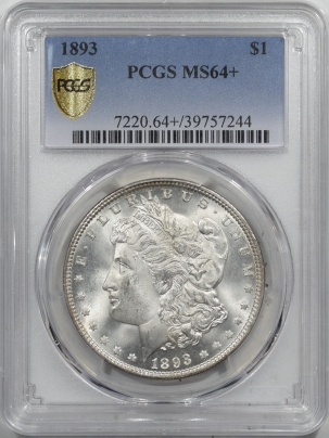 Morgan Dollars 1893 MORGAN DOLLAR – PCGS MS-64+ BLAZING WHITE GEM! LOOKS 65!