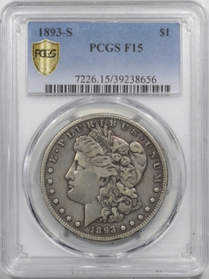 Morgan Dollars 1893-S MORGAN DOLLAR – PCGS F-15 PERFECT CIRCULATED, NEARLY VF, KEY DATE!