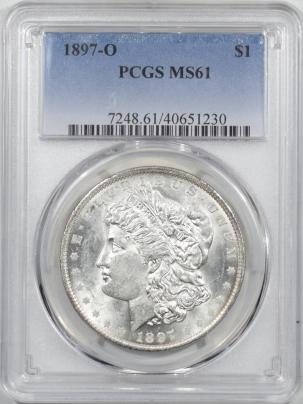 Morgan Dollars 1897-O MORGAN DOLLAR – PCGS MS-61 FRESH, REAL BU!