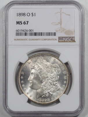 New Certified Coins 1898-O MORGAN DOLLAR NGC MS-67, FRESH ORIGINAL WHITE SUPERB GEM!!
