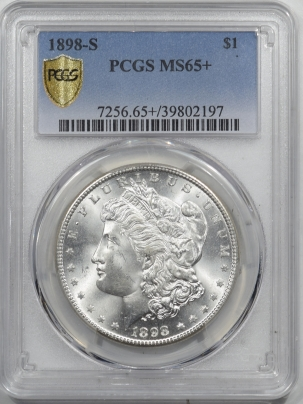 Morgan Dollars 1898-S MORGAN DOLLAR – PCGS MS-65+ SCREAMING WHITE HEADLIGHT, SUPERB!