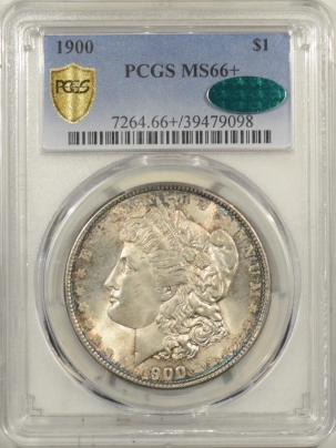 CAC Approved Coins 1900 MORGAN DOLLAR – PCGS MS-66+ CAC, NEARLY FLAWLESS PRETTY TONED, SUPERB