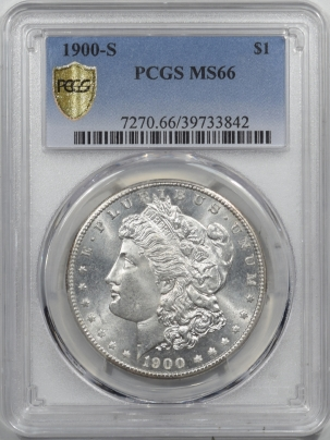 Morgan Dollars 1900-S MORGAN DOLLAR – PCGS MS-66 LUSTROUS WHITE GEM, SUPER FRESH LIGHT SKIN!