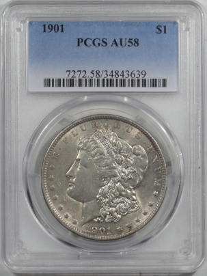 Dollars 1901 MORGAN DOLLAR PCGS AU-58, FLASHY, WELL STRUCK & NEARLY UNCIRCULATED, TOUGH!