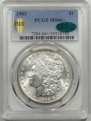 Morgan Dollars 1903 MORGAN DOLLAR – PCGS MS-66+ BLAST WHITE, PQ & SO CLOSE TO 67! CAC APPROVED!