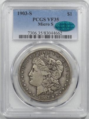 CAC Approved Coins 1903-S MICRO-S MORGAN DOLLAR – PCGS VF-35 NICE LIGHT CIRC EXAMPLE! CAC APPROVED!