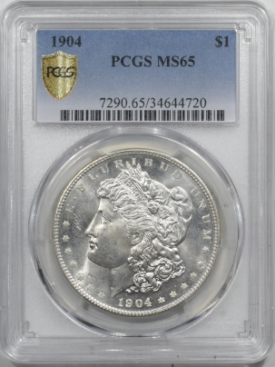 Morgan Dollars 1904 MORGAN DOLLAR – PCGS MS-65 ORIGINAL WHITE, MARK-FREE GEM!