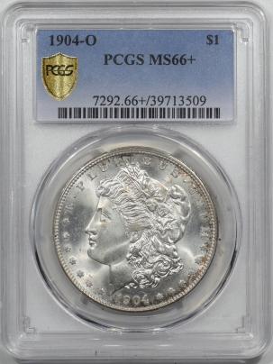 Morgan Dollars 1904-O MORGAN DOLLAR – PCGS MS-66+ BLAST WHITE W/ TOUCH OF GOLD, BEAUTIFUL!