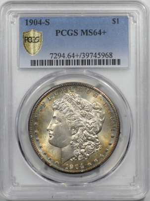 Morgan Dollars 1904-S MORGAN DOLLAR – PCGS MS-64+ GLOWING LUSTER AND COLOR, PREMIUM QUALITY!