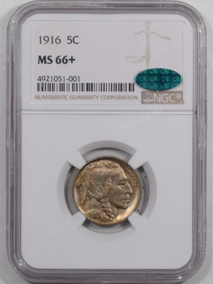 New Certified Coins 1916 BUFFALO NICKEL – NGC MS-66+CAC APPROVED, REALLY PRETTY, PQ!