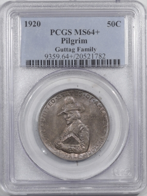 New Certified Coins 1920 PILGRIM COMMEMORATIVE HALF DOLLAR – PCGS MS-64+ GUTTAG FAMILY