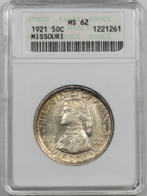 Silver 1921 MISSOURI COMMEMORATIVE HALF DOLLAR – ANACS MS-62 PRETTY!