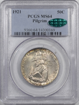 CAC Approved Coins 1921 PILGRIM COMMEMORATIVE HALF DOLLAR  – PCGS MS-64 PQ++ PRETTY, CAC APPROVED!