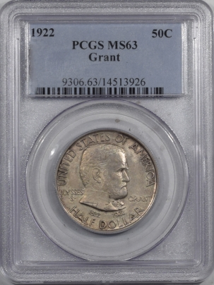 New Certified Coins 1922 GRANT COMMEMORATIVE HALF DOLLAR – PCGS MS-63