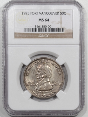 New Certified Coins 1925 FORT VANCOUVER COMMEMORATIVE HALF DOLLAR – NGC MS-64 ORIGINAL & PRETTY!
